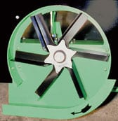 Pelų skleistuvo ventiliatorius