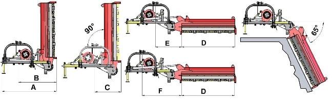 TSL-P grioviapjovės matmenys