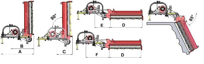 TSL grioviapjovės matmenys