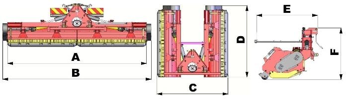 Mulčerio TSP-P matmenys